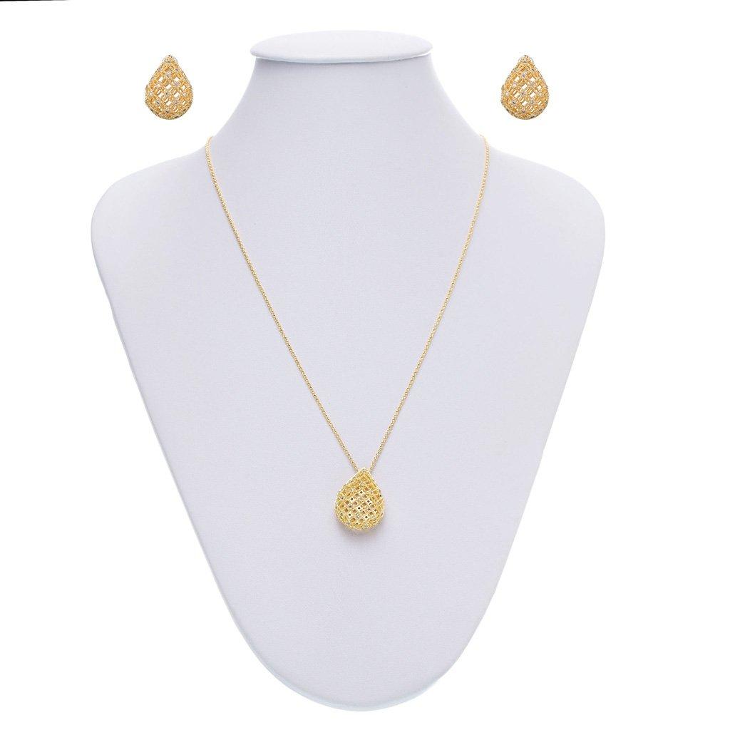 Conjunto Ouro Gota Vazada Zircônia Cristal - Obietto fb9700b8f2