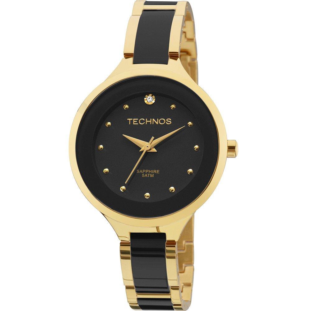 Relógio Technos Elegance Ceramic Analógico Preto 2035lyw 4p - Obietto 4eed2be3d6