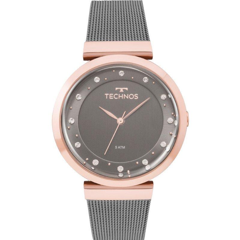 1e9d1821fe1 Relógio Technos Feminino 2035mmw 4c Crystal Fumê Rosê - Obietto