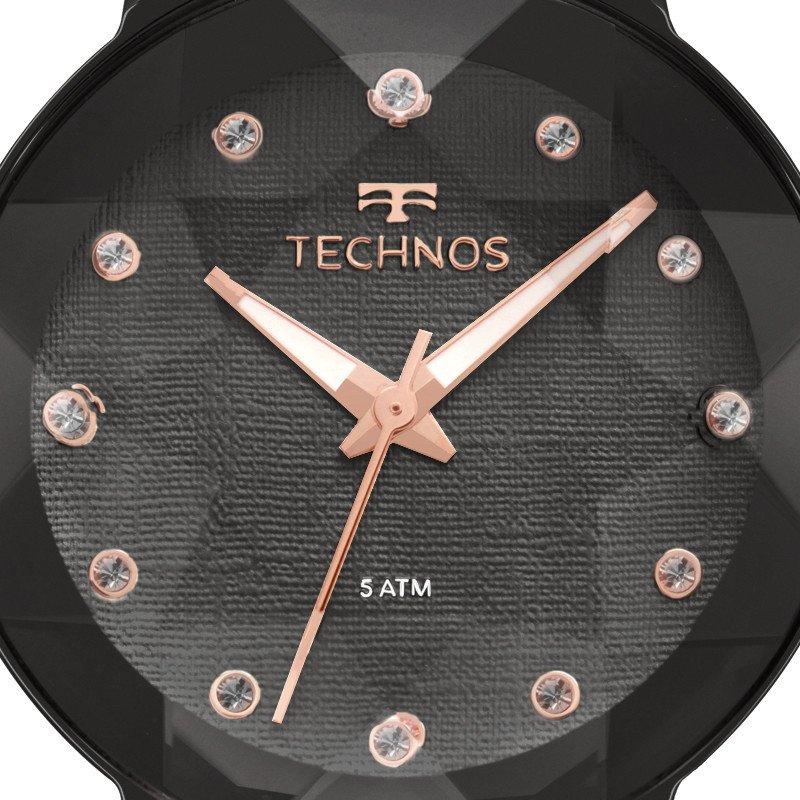 RELÓGIO TECHNOS FEMININO ELEGANCE CRYSTAL SWAROVSKI PRETO 2035MPY 5P  Relógios, Technos 4f88e74a21